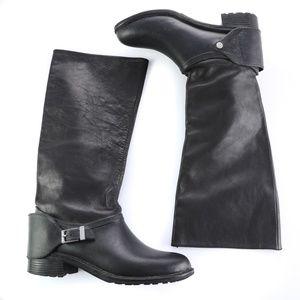 Cole Haan Black Leather Waterproof Knee High Boots